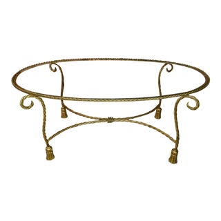20th Century Italian Gold Gilt Metal Rope and Tassel Design Coffee Table For Sale