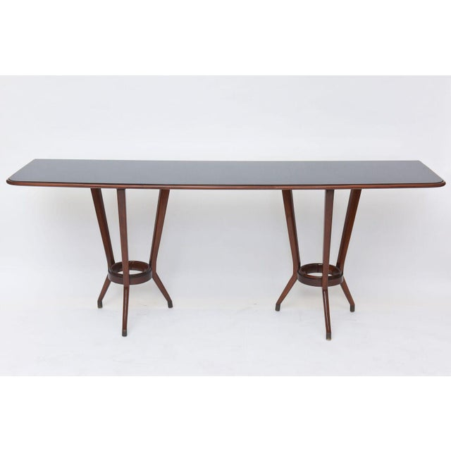 Brass Italian Modern Mahogany, Brass and Black Glass Console Table, Guglielmo Ulrich For Sale - Image 7 of 10