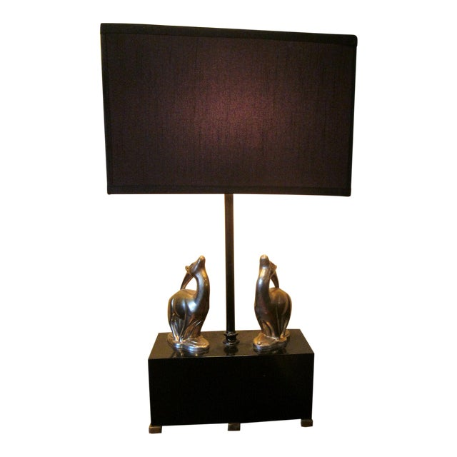 1920s Vintage 1920s Art Deco Black and Chrome Figural Table Lamp Gazelles Antelope Chrome Animal Figures With Geometric Black Base and Shade For Sale