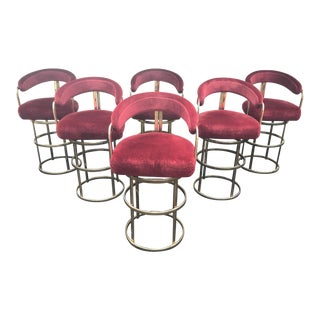 Milo Baughman Style Round Brass Swivel Stools - Set of 6 For Sale