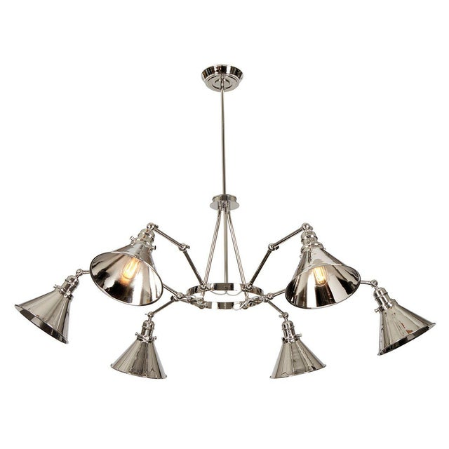 Provence 6-Arm Chandelier in Polished Nickel For Sale In Baton Rouge - Image 6 of 6