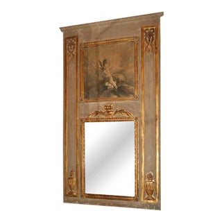 19th C. Grisaille Painted Trumeau Mirror