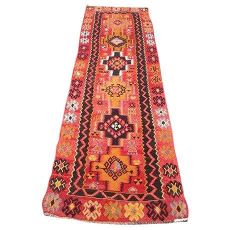 Vintage Turkish Kilim Rug - 3′2″ × 11′3″ - Image 1 of 6
