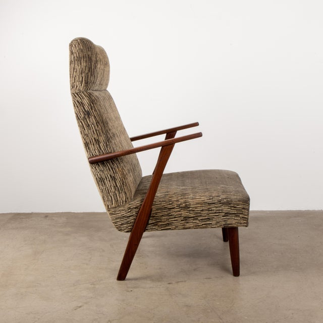 Teak 1960s Mid-Century Modern High-Back Chair For Sale - Image 7 of 8