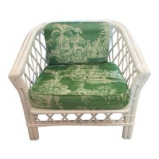 Ficks Reed Vintage Schumacher Fabric Trellis Barrel Chair