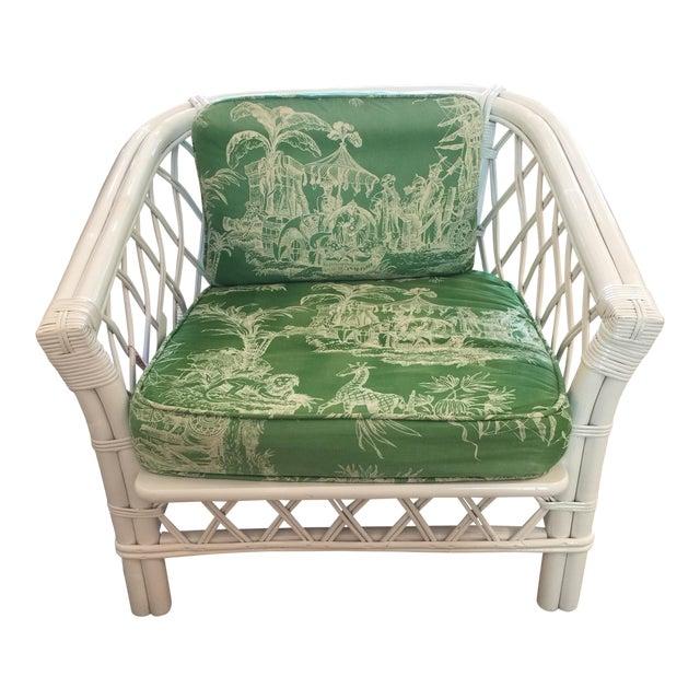 Ficks Reed Vintage Schumacher Fabric Trellis Barrel Chair For Sale