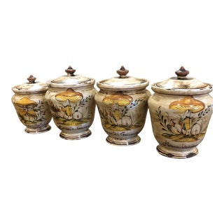 Italian Hand Painted Ceramic Canister - Set of 4 For Sale