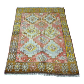 Vintage Geometric Turkish Wool Rug - 4′4″ × 6′5″