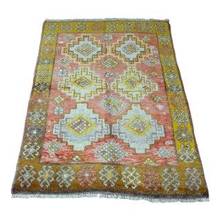 Vintage Geometric Turkish Wool Rug - 4′4″ × 6′5″ For Sale