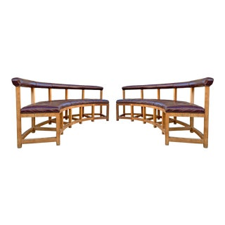 Vintage Monumental Curved Benches - A Pair For Sale