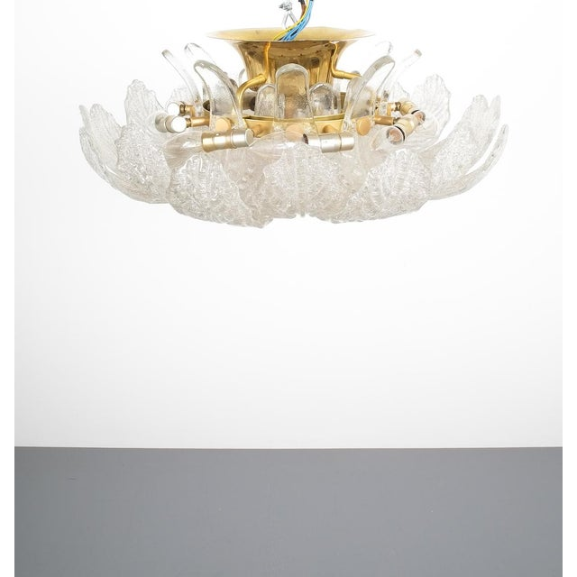 Brass Great Barovier Toso Flush Mount or Chandelier Glass Brass, Italy Mid Century For Sale - Image 7 of 13