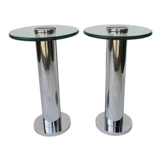 Industrial Chrome & Glass Drinks Tables - a Pair For Sale