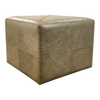 Jamie Young Modern Large Taupe Leather Ottoman For Sale