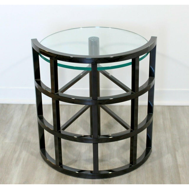 Contemporary Modern Brueton Round Gunmetal Glass Side End Table 80s Asymmetrical For Sale - Image 11 of 12