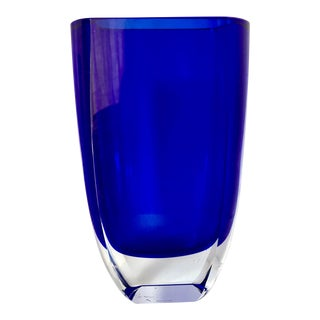 Block Crystal Cobalt Stockholm Vase For Sale