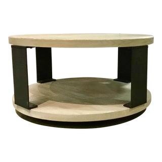 Organic Modern Universal Wilder Round Wood and Metal Cocktail Table For Sale