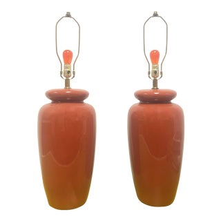 1980s Modernist Oversized Crimson Sienna Table Lamps - a Pair For Sale