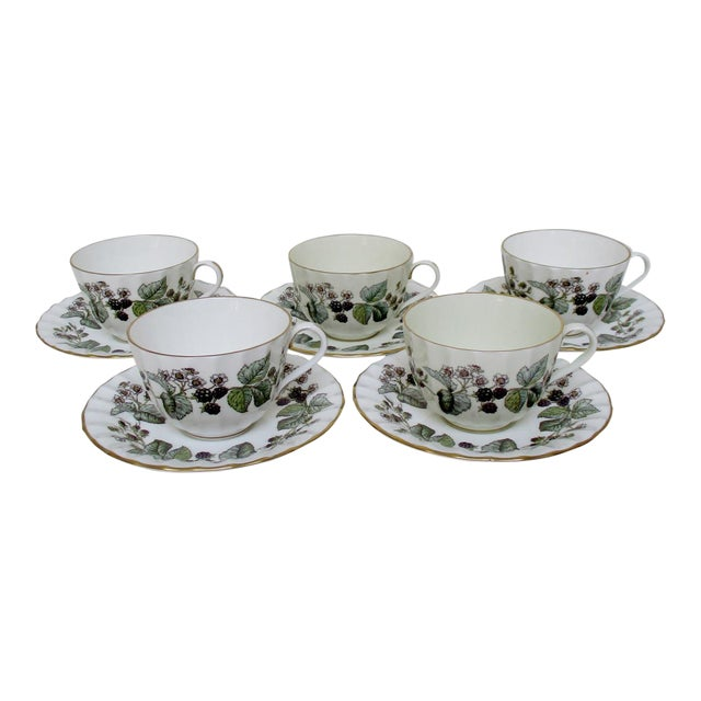 Vintage Royal Worcester Cups & Saucers - 10 Pieces For Sale