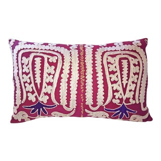 Embroidered Vintage Samarkand Lumbar Pillow For Sale