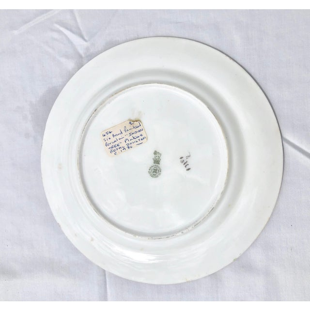 """Gold Tea Sandwich Hand Painted Porcelain """"Indian Tree"""" Royal Doulton Plates Circa 1930 - Set of 6 For Sale - Image 8 of 10"""