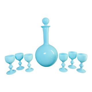1930s Antique French Blue Opaline Decanter and Cordial Goblets Glassware Portieux Vallerysthal - Set of 7 For Sale