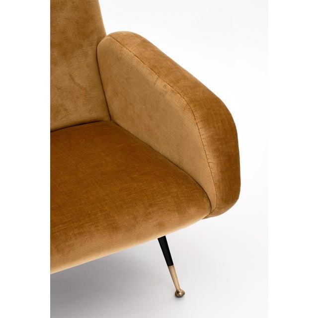 1960s Gold Velvet Vintage Italian Armchairs For Sale - Image 5 of 10