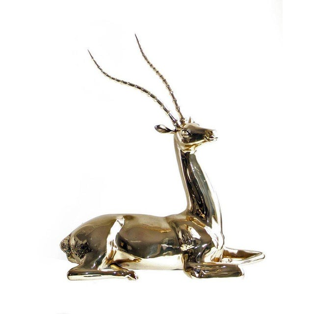 Mid 20th Century Restored Mid-20th Century Brass Sculpture of Impala on Natural Edge Wood Base For Sale - Image 5 of 7