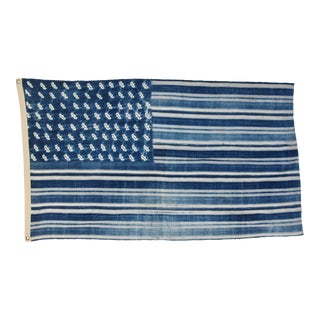 "Boho Chic Indigo Blue & White Flag From African Textiles 63"" X 37"""