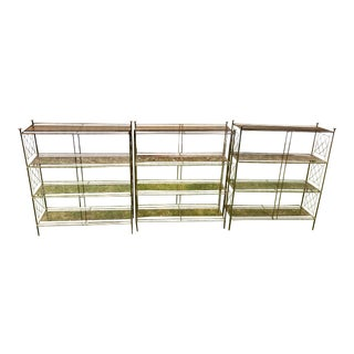 Mid-Century Perforated Metal Bookcases - Set of 3 For Sale