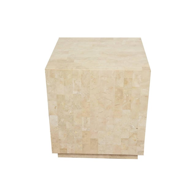 This versatile square Maitland-Smith cube side table/ table and or sculpture /art pedestal is tessellated stone with a...