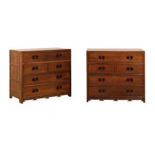 Stellar Pair of Restored Vintage Walnut Chests by Baker For Sale