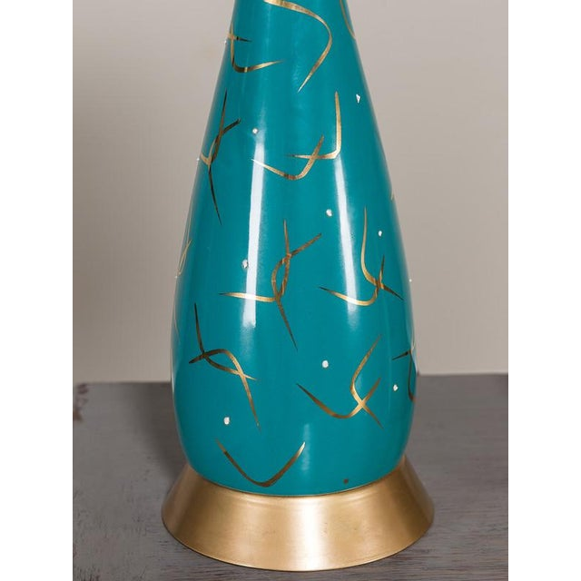 1950s Vintage American Atomic Age Glazed Table Lamp circa 1950 For Sale - Image 5 of 7