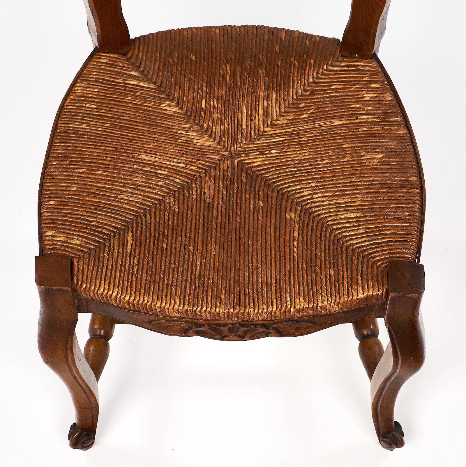 French Antique Wicker And Wood Dining Chairs For Sale   Image 4 Of 10