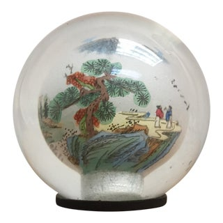 Asian Painted Glass Globe Paper Weight