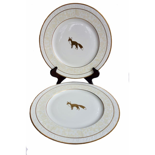 "Metal Villeroy & Boch 13"" Ivorie Pattern Round Servers With Fox - a Pair For Sale - Image 7 of 7"