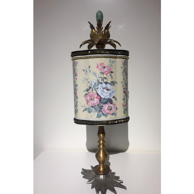 Farmhouse Recycled Floral Butterfly Tea Tin Sculpture For Sale - Image 3 of 5
