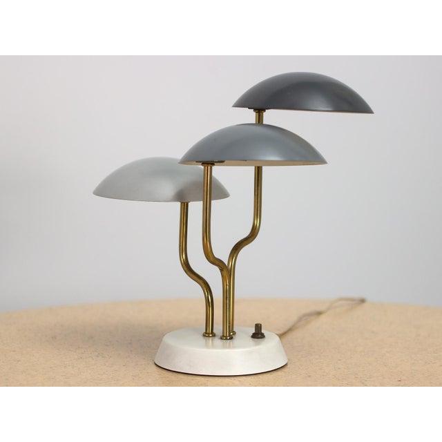 White Mid-Century Modern Three Shade Lamp by Gino Sarfatti For Sale - Image 8 of 8