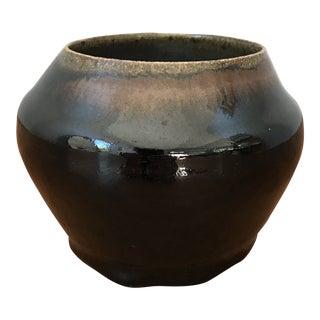 Modern Vintage Glazed Stoneware Pottery Planter For Sale