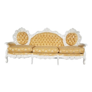 Vintage Hollywood Regency Ivory Couch - French Provincial Gold Brocade Loveseat - Victorian Gold Floral Sofa