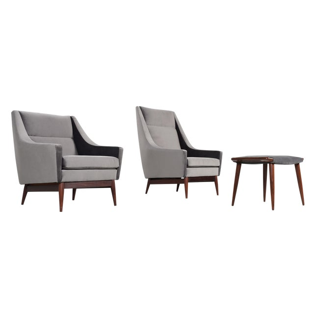 Restored Mid Century Modern 2 Chairs & Ottoman Set For Sale