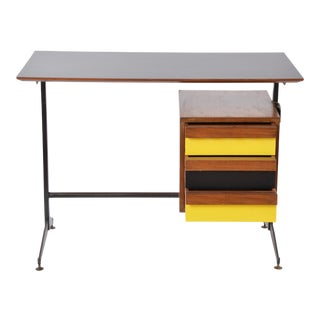 Small Italian Midcentury Desk With Black and Yellow Drawers For Sale