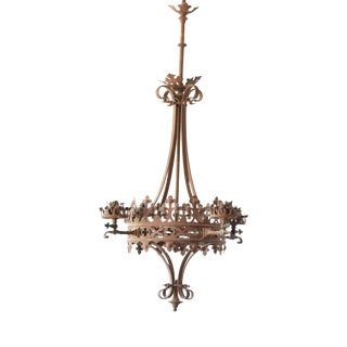 Ornate Gas Iron Chandelier For Sale