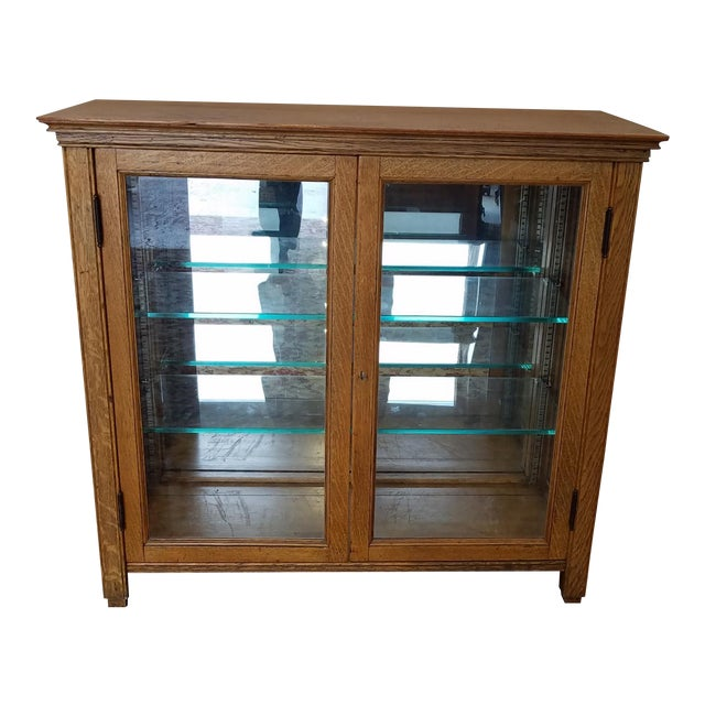 Small Scale Antique Quartered Oak Glass Door Curio Display Cabinet