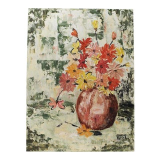 Mid-Century Abstract Expressionist Flower Painting For Sale
