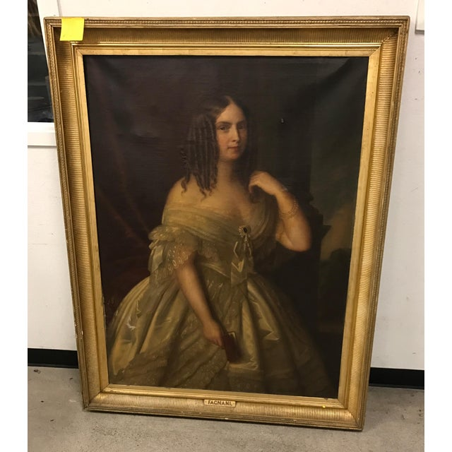 Antique Giuseppe Fagnani Oil Portrait Painting - Image 6 of 8