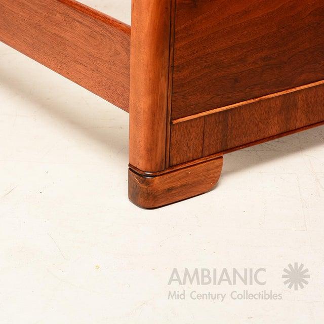 Art Deco Style Full Size Bed, Walnut Wood - Image 4 of 8