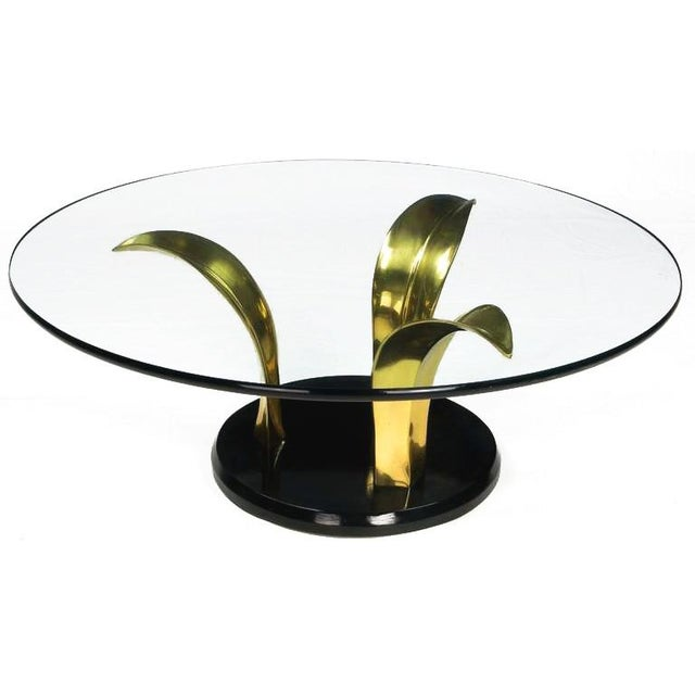 Art Deco Black Lacquer & Brass Palm Leaf Cocktail Table For Sale - Image 3 of 8