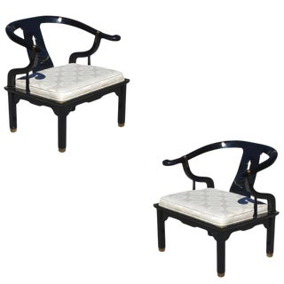 Pair of Horseshoe Lounge Chairs in the Manner of James Mont