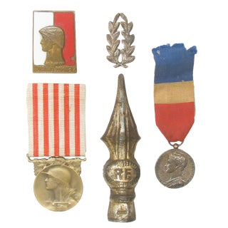 Vintage French & Polish Medal Collection, S/5 For Sale