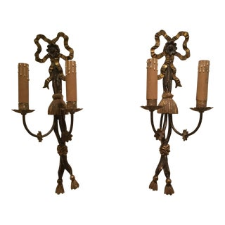 19th Century French Bow Gilded Wood Sconces A Pair For Sale